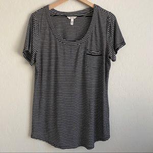 Soma Black & White Striped T-shirt with Pocket